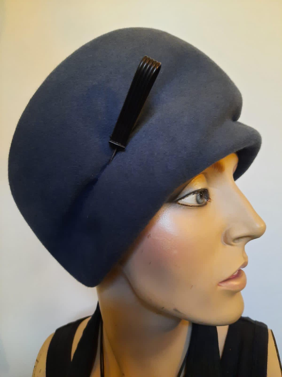 Turban Emilia im 20er-Stil in blau
